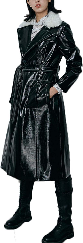 Women Leather Thick Jacket Maxi Trench Winter, Shiny Punk Cotton Lapel PU Faux Fur Parka Moto Puffer Warm Coat Outwear,Black,M