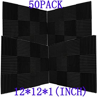 "50 Pack Ice Black Acoustic Panels Studio Foam Wedges 1"" X 12"" X 12"" (50pack, Black)"