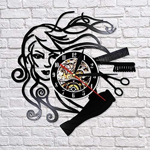 TIANZly Horloge Murale en Vinyle Coiffure Salon de beauté Disque Vinyle Horloge Murale Coiffeur Coiffeur Coiffeur Coiffeur rétro Noir Horloge Murale Coiffeur Femme