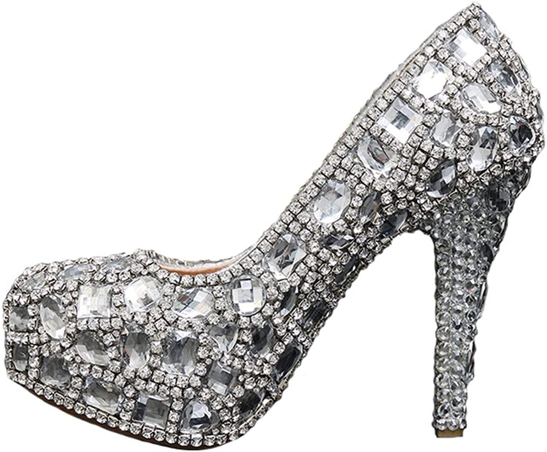 BoShi Women's Rhinestone Platform Bridal shoes Heels Party Pumps