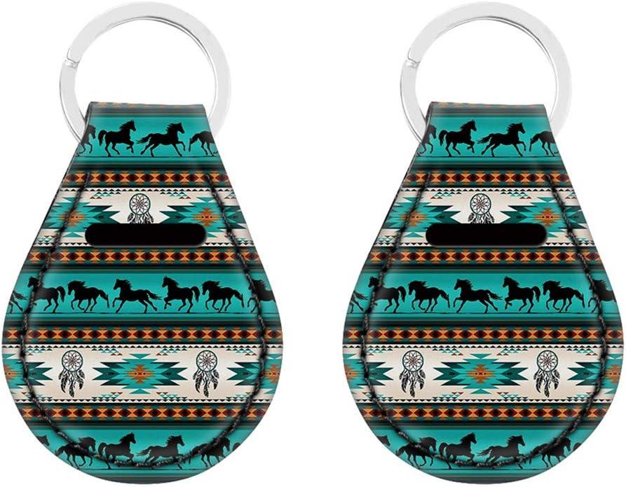 doginthehole 2 Pieces Native Tribal Horse Dream Catchet Pattern Holder Keychains for Men Keyring Key Case for Girls/Women