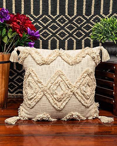 IMPEXART PVT LTD Dekorativer Kissenbezug Boho Square Covers Cases für Couch Schlafzimmer Sofa Car Weave Kissenbezug 50 X 50 cm mit Quasten für Sofa Schlafzimmer Wohnzimmer