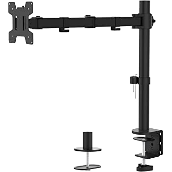 WALI Single LCD Monitor Desk Mount Fully Adjustable Stand Fits 1 Screen up to 27 inch, 22 lbs. Weight Capacity (M001), Black