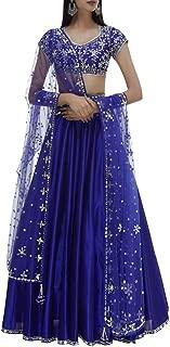 Blue Indian Handmade Mirror Lace work Lehenga Chaniya Choli Navratri Women wear By Designers 8446