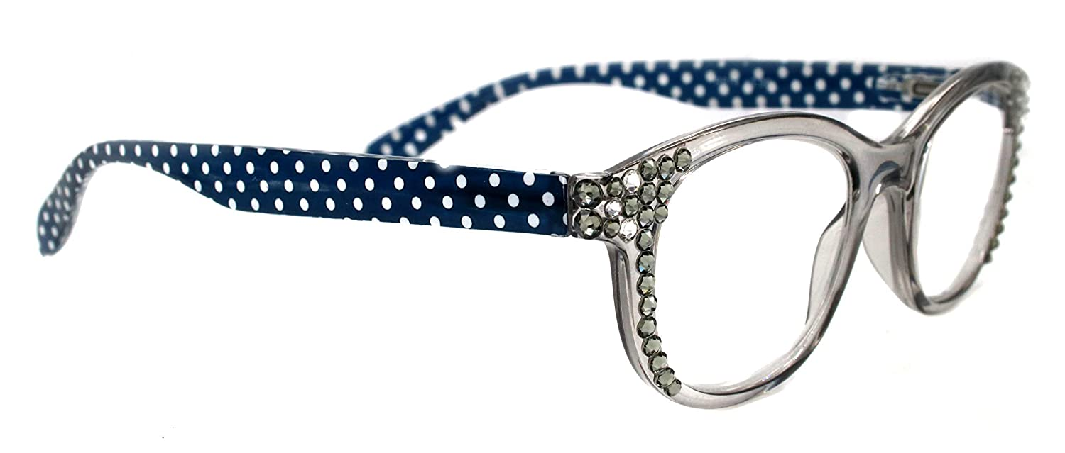 Lucy Polka Dot security Clear Round Women Adorned Reading Bling Popular Glasses
