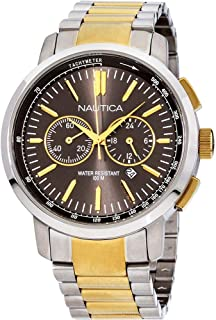 Nautica Men's 45mm Two Tone Steel Bracelet Steel Case Quartz Watch A23601G