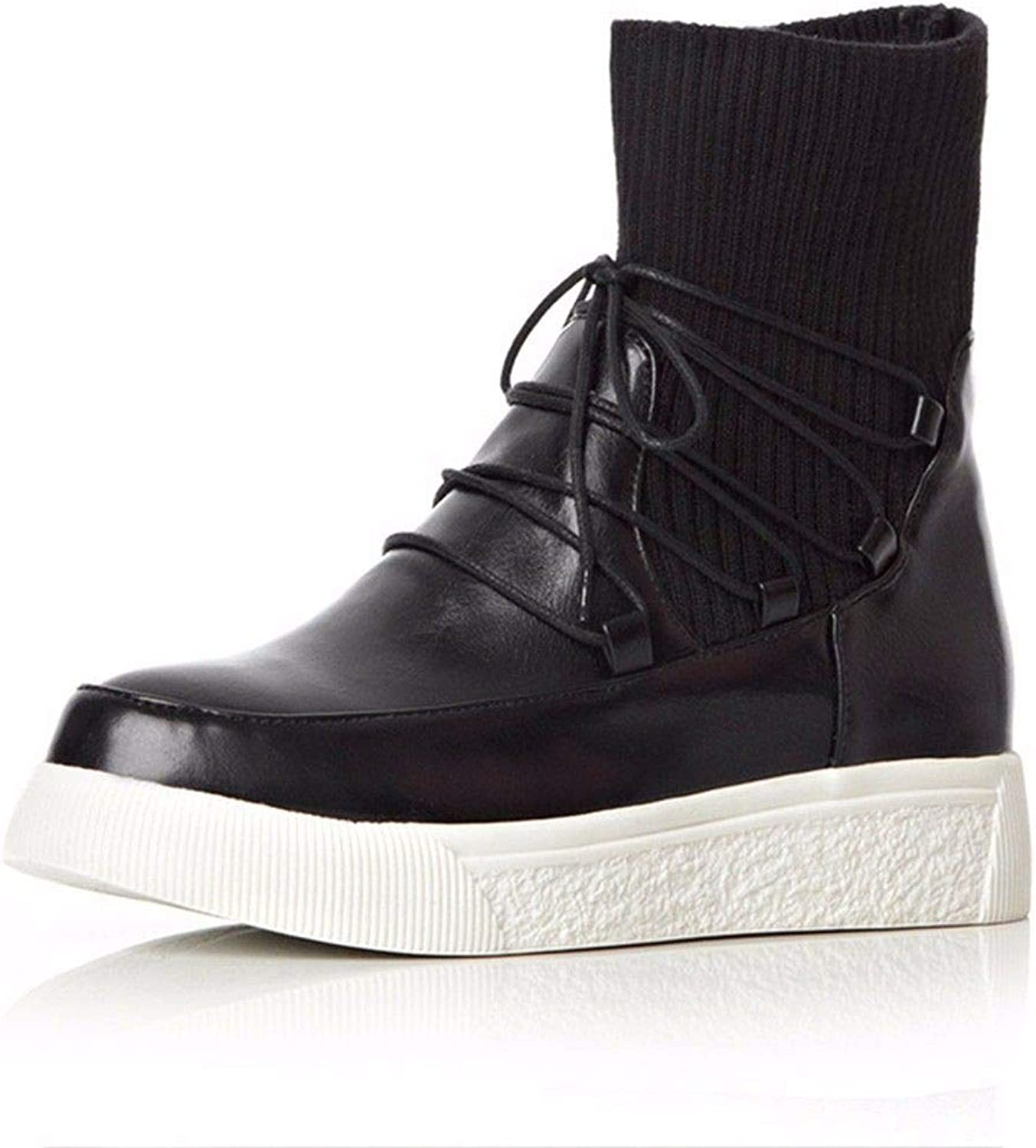 Autumn and Winter Fashion Strap Flat Boots Size Wool Boots Thick Soled Boots
