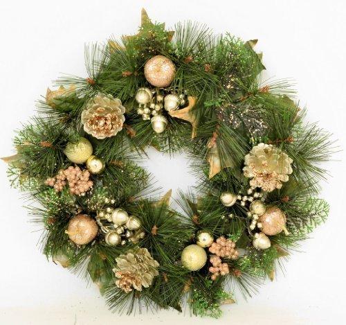 40,64 cm (16')-Ghirlanda di Natale decorata con brillantini, colore: oro