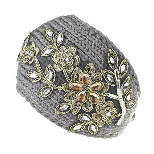 Butterme Bandeau tricoté à l'hiver Crochet Headwrap Crochet Headband Haarband avec décoration à la Main de Fleur de Diamant