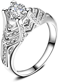 Uloveido White Gold Plated Fashion Jewelry Cocktail Ring for Women in Silver Color with Cubic Zirconia (Size 6 7 8 9 10) HR271