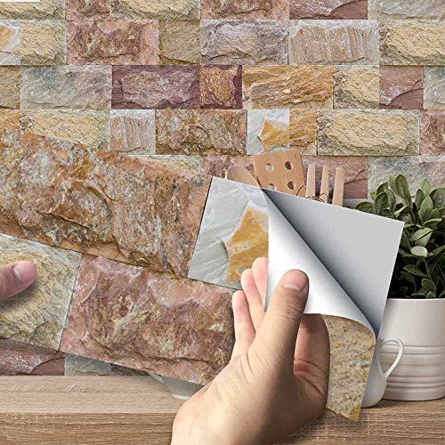 Hiser Adhesivos Decorativos para Azulejos Pegatinas para Baldosas del Baño/Cocina Estilo de Azulejos de Pared 3D Resistente al Agua Pegatina de Pared (Ladrillo de Piedra marrón,54 Piezas)