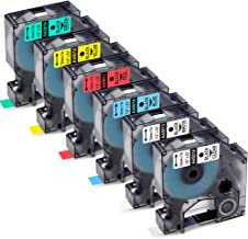 6 Pack Compatible DYMO D1 Label Cassette, Dymo D1 Labels Tape 12mm 1/2 inch,45010 45013 45016 45017 45018 45019 for DYMO LabelManager 160 280 210D 420P Label Makers,23 Feet(7m)