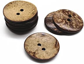 YaHoGa 10 pcs Natural Coconut Shell Buttons 2 Inch 50MM Large Coconut Buttons for Sewing DIY Crafts (50mm)