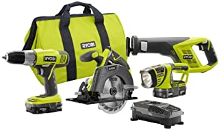 ONE 18-Volt Lithium-Ion Cordless Super Combo Kit (4-Piece) by Ryobi