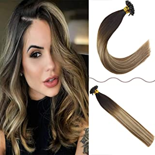JoYoung 14inch Balayage Utip Hair Extensions Human Hair Ombre Darkest Brown to Medium Brown with Blonde Hot Fusion Remy Pre Bonded Extensions Silk Straight Human Hair 50 Srands 50g