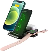 $34 » Sponsored Ad - Wireless Charger, Foldable 3 in 1 Qi-Certified Charging Station 15W Fast Charging Stand for iPhone 12/12 Pr...