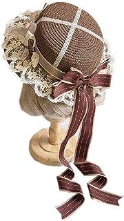 麦わら帽子 ストローハット ガールズ レース 刺繍 ゴスロリ 子供 お洒落 超キュート カンカン帽 女の子 大きいリボン ヘアアクセサリー 茶話会 お人形 サテン 欧風 ブラウン パーティー (大人(55-58CM))