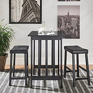 3 Piece Tufted Vinyl Upholstered Saddleback Counter Height Solid Wood Kitchen Dinette Set Includes Our Exclusive Mousepad (Black)