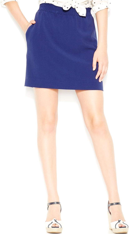 Maison Jules Womens Knit Mini A-Line Skirt Navy S