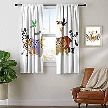 Mozenou Kids, Room Darkening Wide Curtains, Colorful Jungle Animals Hippo Bat Parrot Giraffe Zebra Rhino Panda African Safari Themed Decorations, Curtains for Sliding Glass Door, W72 x L45 Inch