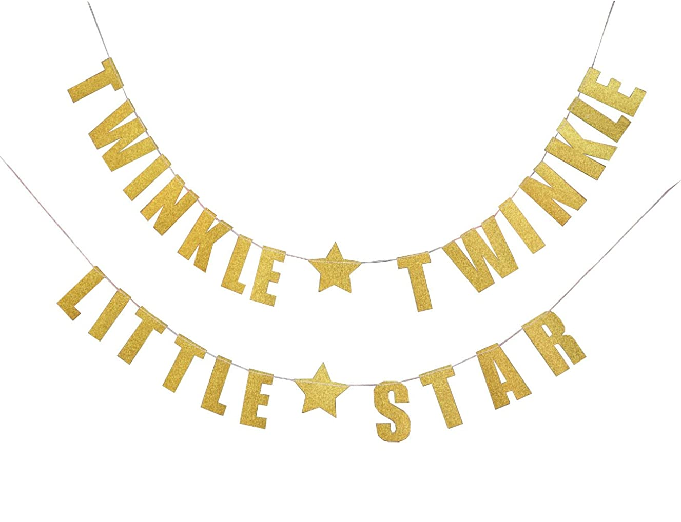 FECEDY Letters Twinkle Twinkle Little Star Glittery Gold Banner for Birthday Party,Baby Shower Party (Gold)