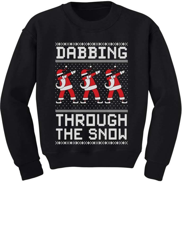 dinosaur Kids Christmas t shirt Dabbin through the snow boys girls dabbing dab
