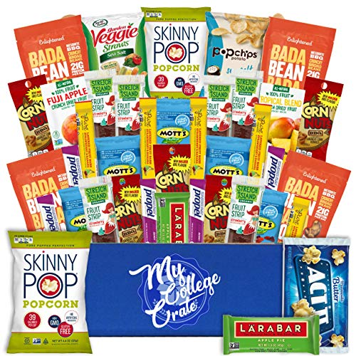 My College Crate Gluten Free Healthy Snacks Variety Pack - Low Carb, Vegan treats for Adults and Kids - Organic, Dairy Free, Keto and Paleo Options - Assorted 40 Pack Gift Box