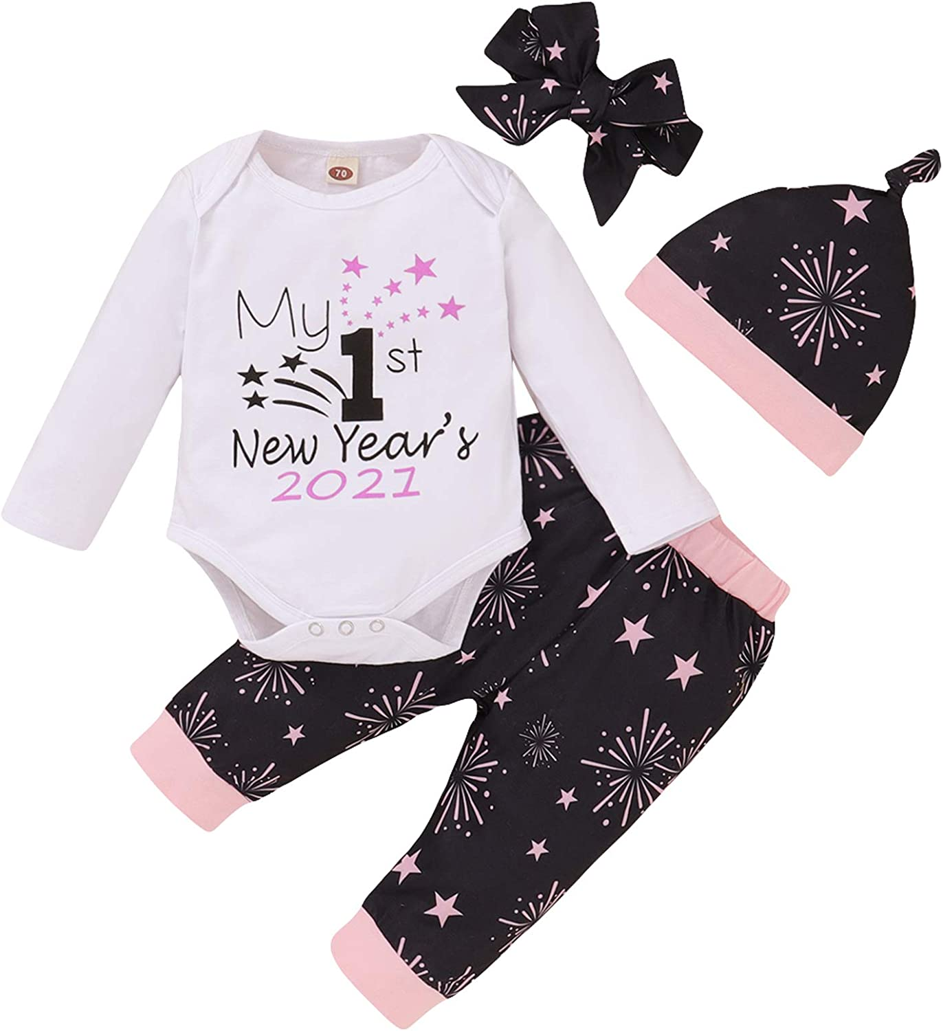 4Pcs Baby Boy Girl Christmas Outfits My 1st New Year's 2021 Romper+Fireworks Pants+Hat+Headband Clothes Set