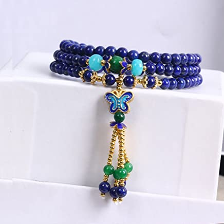 S925 Sterling Silver Natural Gemstone Tassel Bracelet for Women Multilayer Round Beads Butterfly Stretch Necklace Jewelry for Girl OMZBM Jewellery & Watches