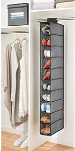 mDesign Portascarpe da appendere – Perfetta scarpiera e organizer armadio con 10 scomparti – Funzionale scaffale per scarpe, vestiti e accessori – grigio/nero