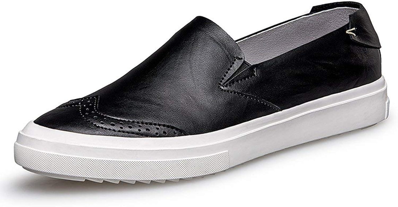 ZHRUI Boy's Men's Wingtip Slip-on Casual Street Loafers (color   Black, Size   9 UK)