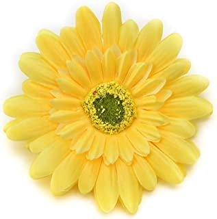 Fake flower heads in bulk wholesale for Crafts Silk Sunflower Rose Flowers Head Artificial Flowers Wedding Home Party Decoration & Wedding Car Corsage Decoration 15PCS 9.5cm (Yellow)
