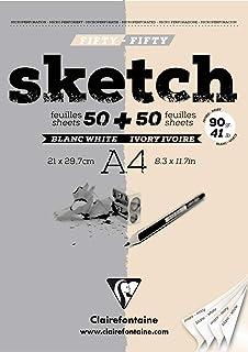 Clairefontaine 96609C - Un bloc encollé de papier dessin à grain léger Sketch 100 feuilles 21x29,7 cm 90g, Blanc et Ivoire