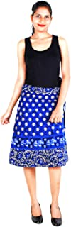 Women's Cotton Printed Knee Length Regular Wrap Around Skirt (W24NT_0009)