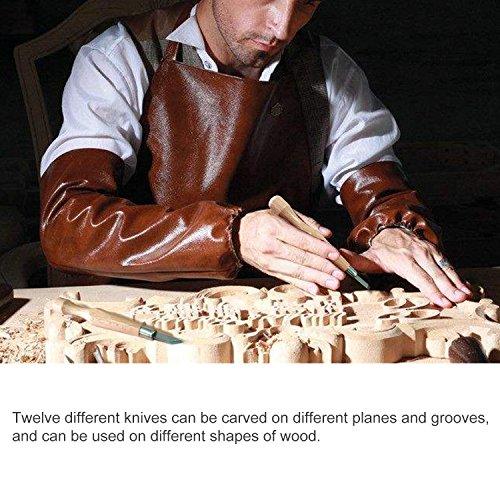 Kincrea ciseau à bois en acier carbone SKS7 12pcs outil de gravure kit avec housse de transport craft outil pour les débutants de menuisier les enfants et les professionnels sculpteurs etc