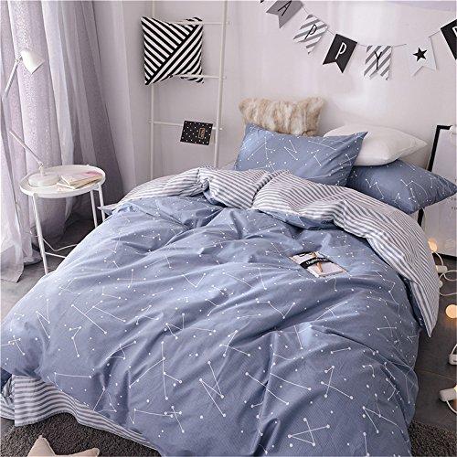VM VOUGEMARKET Kids Duvet Cover Set Twin Blue,Premium Cotton Constellation Stars Printed Bedding Set,Galaxy Theme Comforter Cover with Zipper-Twin,Constellation