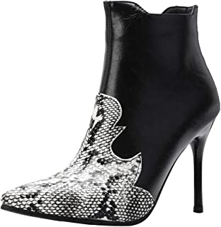 Stiletto Boots High Heels for Women Sexy Snakeskin Faux Leather Pointed-Toe Mixed Color Ankle Booties Sunmoot