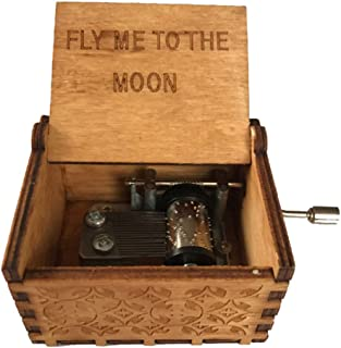 Sprinkles Gifts Fly Me to The Moon Song Wood Gift Hand Crank Wind Music Box Frank Sinatra