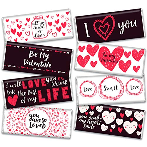 8ct Valentine's Day Candy Hershey's Chocolate Bars Gift Box (8 Pack) - Full Size Candy Bars