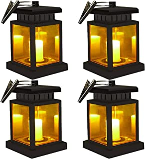 Hanging Solar Lanterns - OKSSTONE Hanging Solar Lights Outdoor Umbrella Lights Waterproof Candle Lamps Hang on Trees Patio Landscape Yard Solar Garden Lights (Yellow Light, 4 Pack)