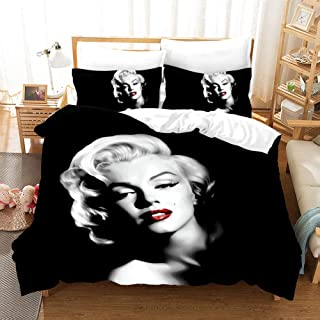 NOOS Marilyn Monroe Bedding 3D Sexy Marilyn Monroe Duvet Cove Sets King Size 100% Polyester Black Marilyn Monroe Bed Set Including 1Duvet Cover,2Pillowcase
