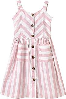 Freebily Vestido de Verano para Niñas a Rayas con Botones Vestido de Tirantes Lindo Vestidos Casuales para Niña Princesa T...