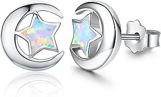 لا تسبب الحساسية أقراط اصطناعية أوبال ستار أقراط صغيرة صغيرة هدايا للنساء أقراط فضة استرلينية مجوهرات بسيطة للأذنين الحساسة