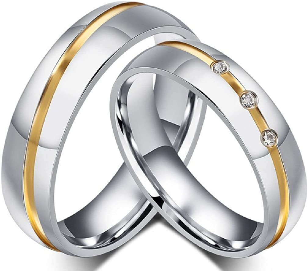 Mens Womens Stainless Steel CZ Crystal Love You Wedding Ring Band Size 6-9 #RG6