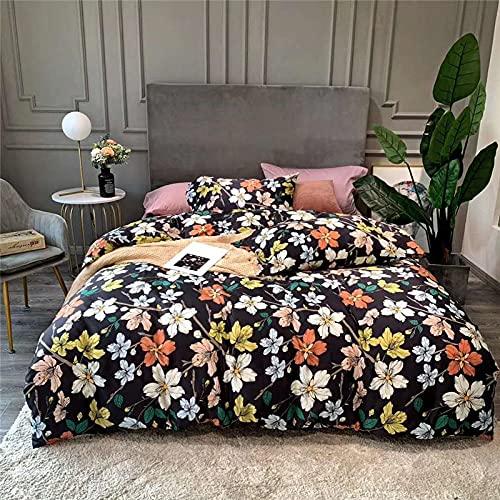 Exlcellexngce Bed Set Double Bed,Birds Flowers Duvet Cover Bed Sheet Fitted Set King Size Queen Bedding Set-E_200*230cm(79' *91') 4pcs