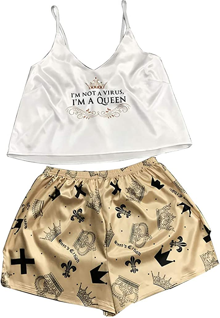 WYZHDQ Pajama Sets for Women Satin Cami Shorts Sets Silk Print Lingerie Sexy Sleepwear 2 Piece Pjs Soft Nightwear