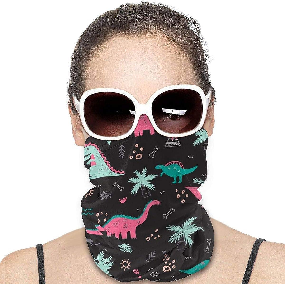 KiuLoam Women Bandanas Face Mask, Tropical Cartoon Dinosaurs Animal Pattern Neck Gaiter Mask Headband for Men Face Scarf Dust, Outdoors, Sports