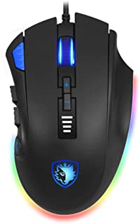 Sades Axe RGB Gaming Mouse 12 Programmable Buttons With Adjustable Weights - 10000DPI