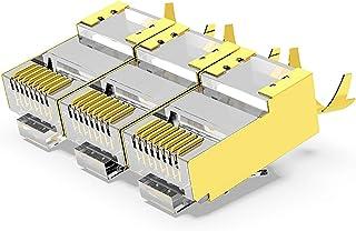 AMPCOM CAT7 RJ45 Metal Shielded Modular Plug,50μ Gold-Plated STP Modular Plug Connector,8P8C Crimp End for Ethernet Cable,...