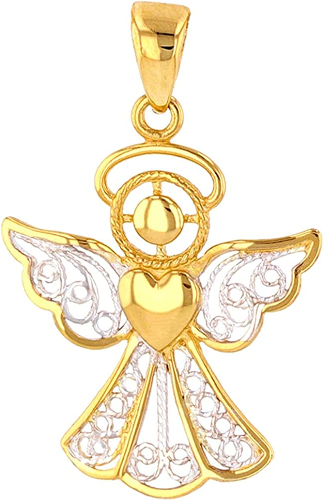Jewelry America Industry No. 1 Polished 14K Gold Heart Filigree Char Angel Lowest price challenge with